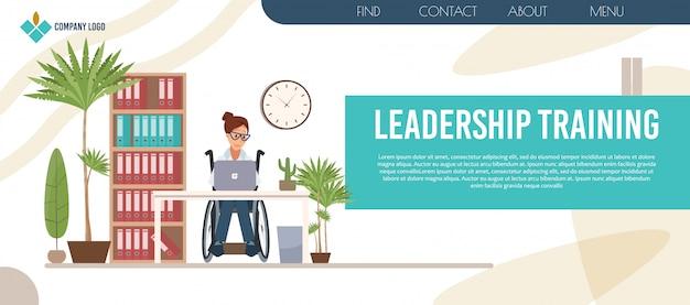 Pagina web di formazione sulla leadership delle persone disabili Vettore Premium