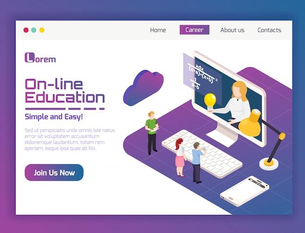 Pagina web isometrica online di applicazione isometrica per l'apprendimento a distanza di corsi universitari di insegnamento flessibile Vettore gratuito