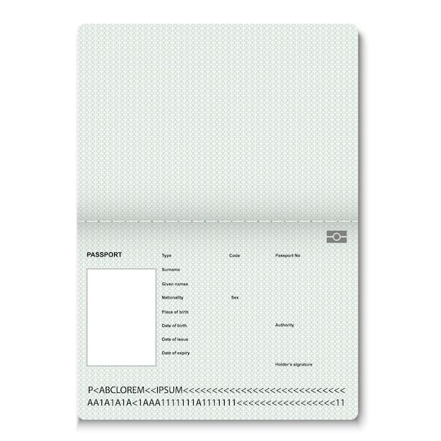 Pagine bianche passaporto realistico per francobolli. passaporto vuoto con filigrana. Vettore Premium