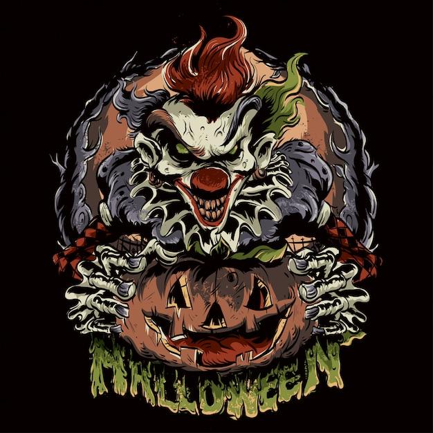Pagliaccio di halloween Vettore Premium