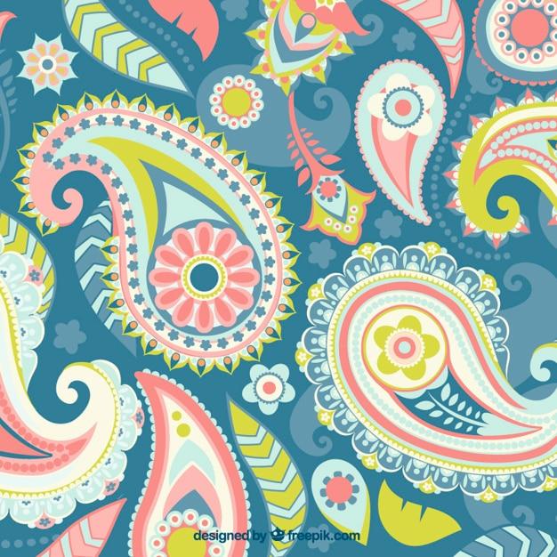 Paisley, colori di sfondo Vettore gratuito