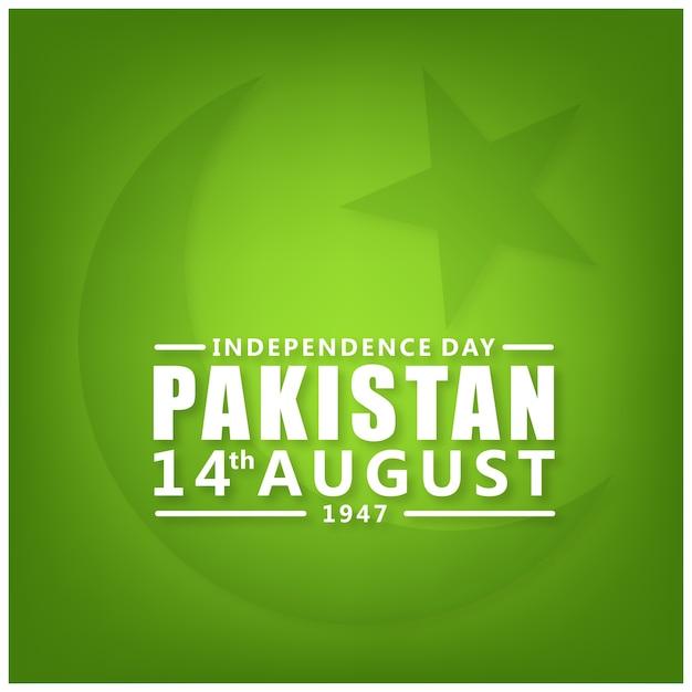 Pakistan 14 agosto independence day sfondo verde Vettore gratuito