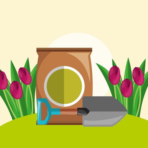 Pala del terreno di impregnazione e giardino di fiori rosso dei tulipani Vettore Premium