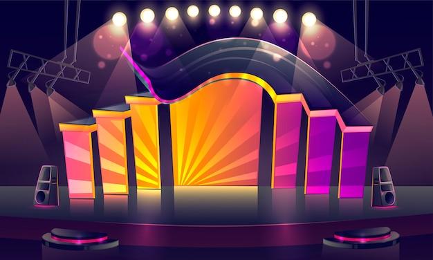 Palco da concerto illuminato da faretti Vettore gratuito