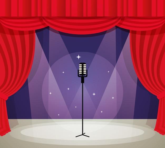 Palcoscenico con microfono in riflettore con illustrazione vettoriale di sfondo rosso tenda. Vettore gratuito