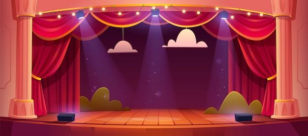 Palcoscenico teatrale di cartone animato con tende rosse Vettore gratuito