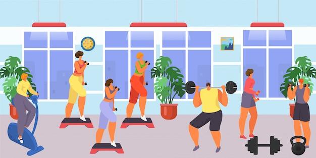 Palestra per esercizio fitness e allenamento, illustrazione. equipaggi lo sport di addestramento del carattere della gente della donna, stile di vita sano del fumetto. Vettore Premium