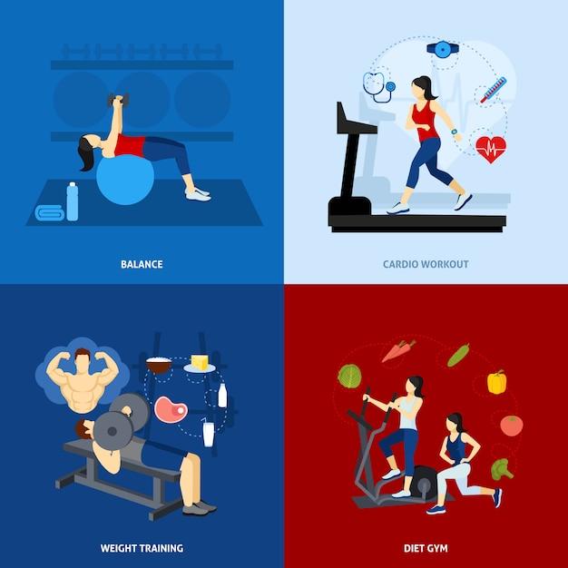 Palestra workout persone Vettore gratuito