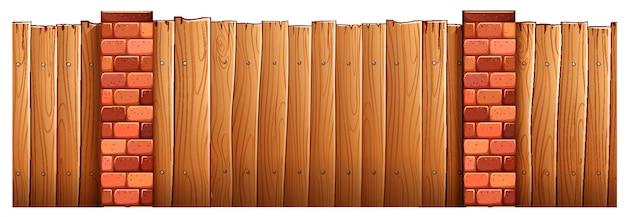 Pali in legno recinzione e mattoni Vettore gratuito