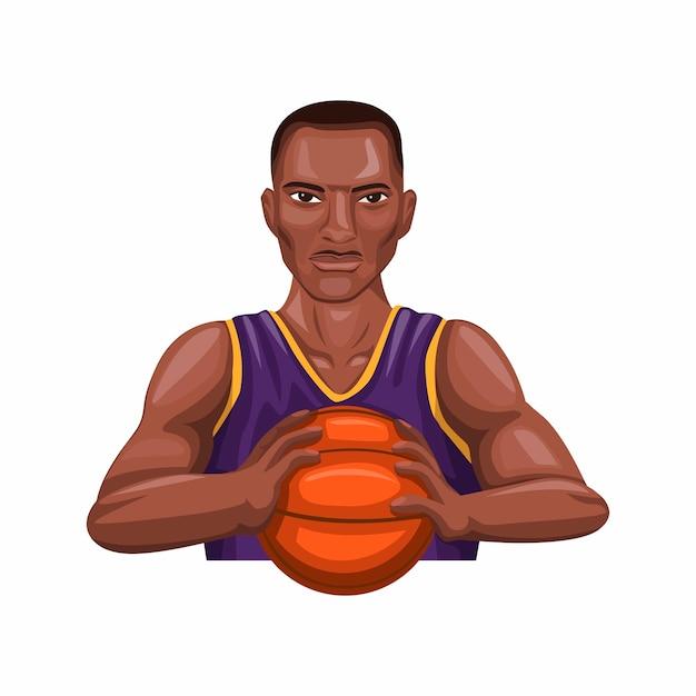 Palla della tenuta del giocatore di canestro, atleta di pallacanestro dell'uomo di colore Vettore Premium