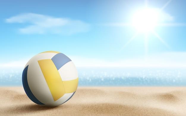 Palla di pallavolo sull'illustrazione della spiaggia sabbiosa, vettore Vettore gratuito