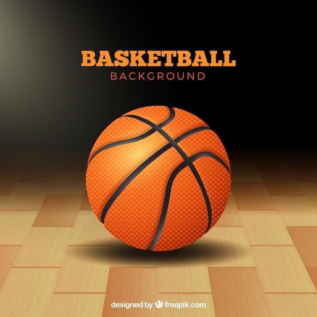 Pallacanestro pallone sfondo sul pavimento Vettore gratuito