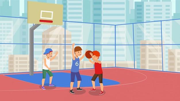Pallacanestro piana della tazza della scuola del gioco di pallacanestro di vettore. Vettore Premium