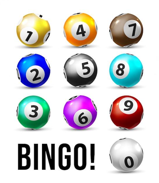 Palle da bingo. dieci palline della lotteria per il gioco di sport del lotto di keno. palle da bingo realistiche con numeri su sfondo bianco. concetto di gioco del casinò Vettore Premium