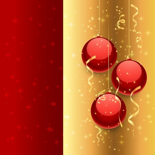 Sfondi Natalizi Eleganti.Palle Di Natale A Sfondo Dorato E Rosso Scaricare Vettori Gratis