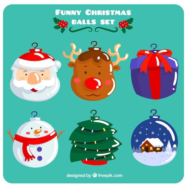 Immagini Di Natale Divertenti Gratis.Palle Di Natale Divertenti Scaricare Vettori Gratis