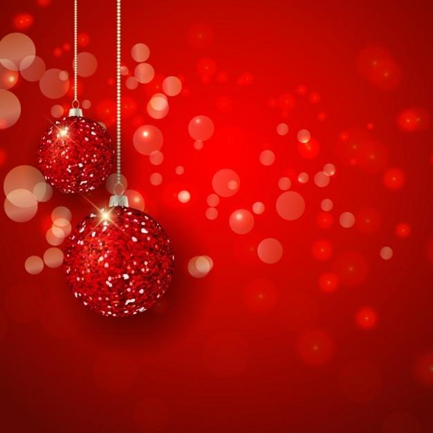 Sfondi Natalizi Luminosi.Palle Di Natale Luminosi Su Uno Sfondo Bokeh Rosso