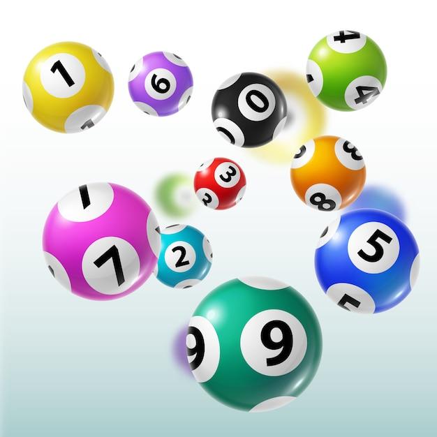 Palline della lotteria di bingo, lotto, giochi d'azzardo keno Vettore Premium