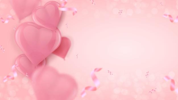 Palloncini a forma di cuore rosa aria. Vettore Premium