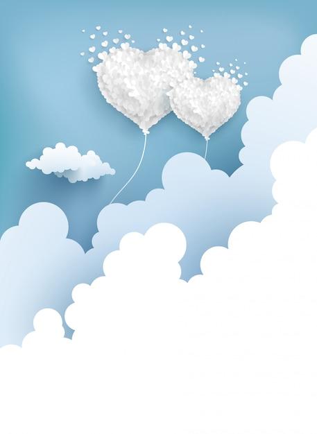 Palloncini d'amore sorvolano le nuvole Vettore Premium