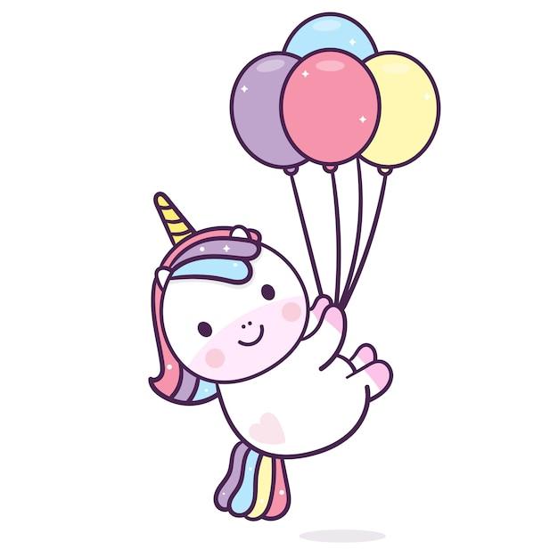 Palloncini di tenuta unicorno kawaii Vettore Premium