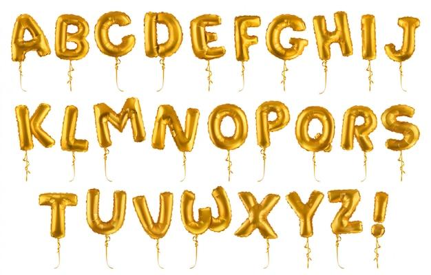 Palloncini dorati a forma di lettera Vettore Premium