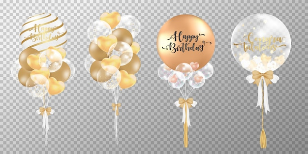 Palloncini dorati su sfondo trasparente. Vettore gratuito
