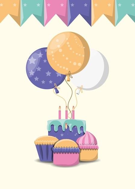 Palloncini e torta di compleanno con cupcakes su sfondo bianco Vettore Premium