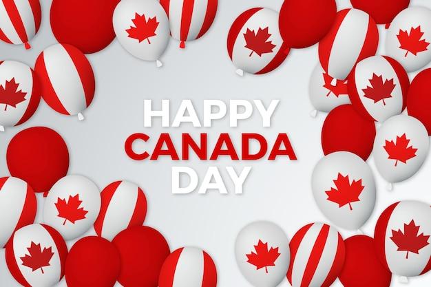 Palloncini giorno canada con sfondo di bandiere Vettore gratuito