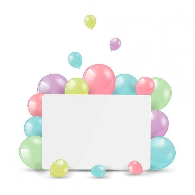 Palloncini lucidi con carta bianca per le congratulazioni. Vettore Premium