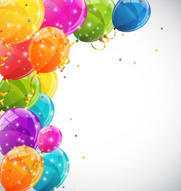 Palloncini lucidi di colore Vettore Premium