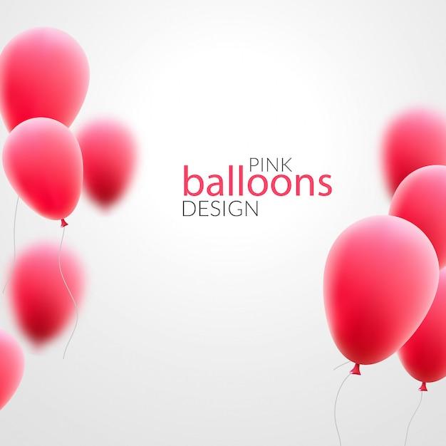 Palloncini rosa su sfondo bianco Vettore Premium