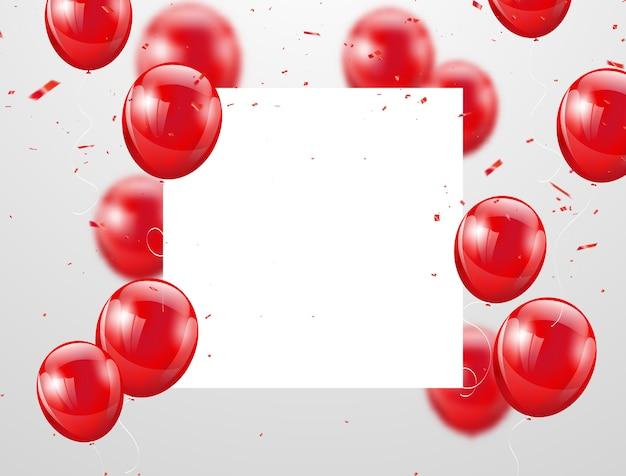 Palloncini rossi celebrazione sullo sfondo Vettore Premium