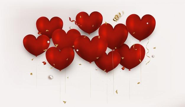 Palloncini rossi del cuore 3d su beige. fondo orizzontale di san valentino Vettore Premium