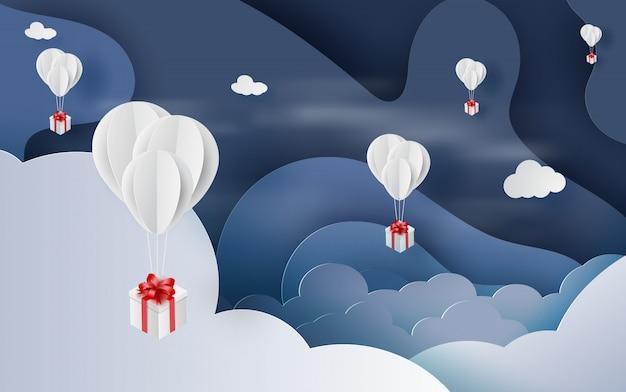 Palloncino bianco galleggiante e confezione regalo sky Vettore Premium