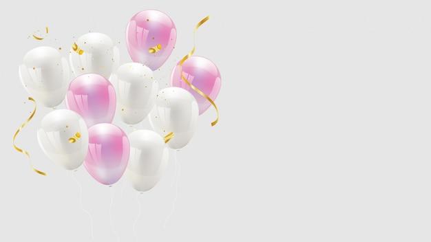 Palloncino color rosa e bianco, confetti e nastri dorati. biglietto di auguri di lusso ricco. Vettore Premium