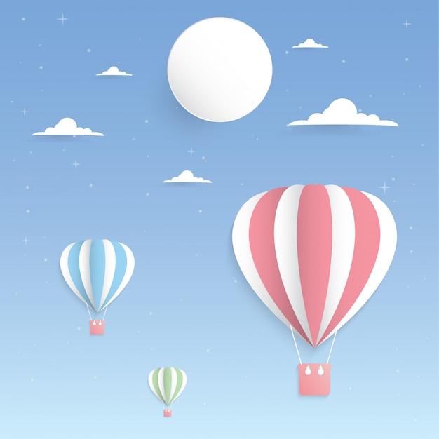 Palloncino colorato nell'arte di carta cielo e luna Vettore Premium