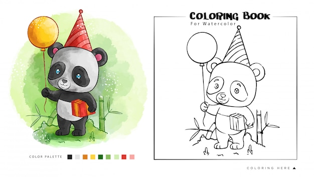Palloncino e regalo per compleanno panda. illustrazione di cartone animato Vettore Premium