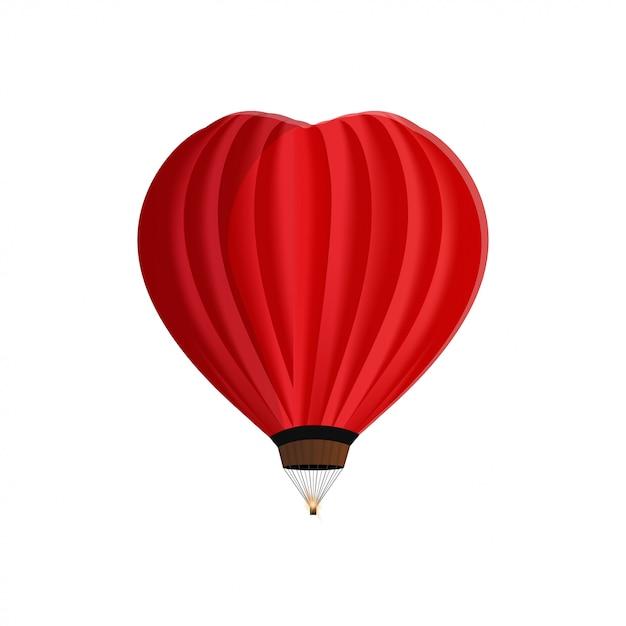 Pallone a forma di cuore isolato su bianco Vettore Premium