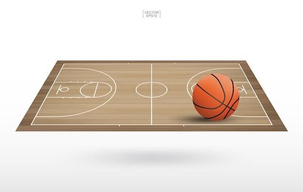 Pallone da basket sul campo da basket. Vettore Premium