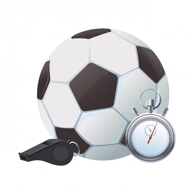 Pallone da calcio e cronometro Vettore Premium