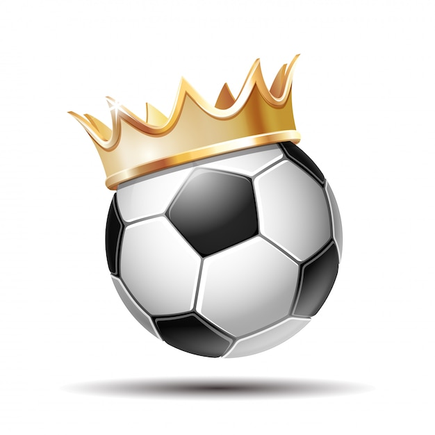 Pallone da calcio in golden royal crown Vettore Premium
