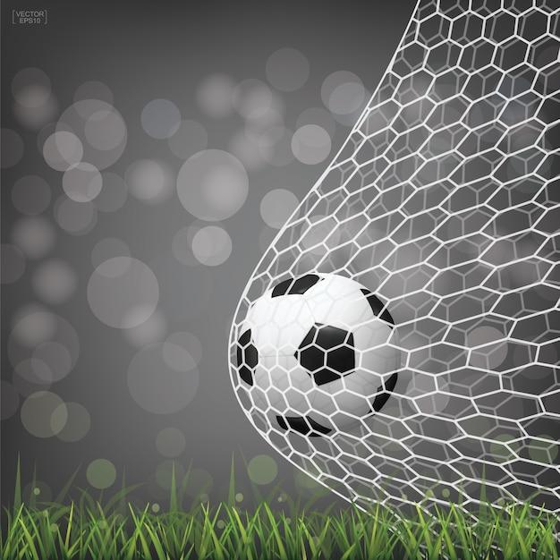 Pallone da calcio in porta. Vettore Premium