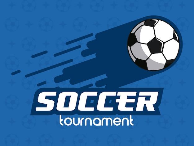 Pallone Da Calcio Lanciato Su Sfondo Blu Scaricare Vettori Premium