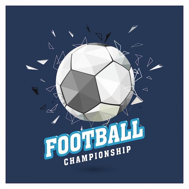 Pallone Da Calcio Lucido Su Sfondo Blu Con Testo Campionato Di