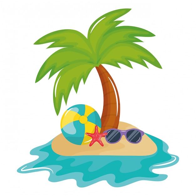Pallone da spiaggia con accessorio per occhiali da sole Vettore gratuito