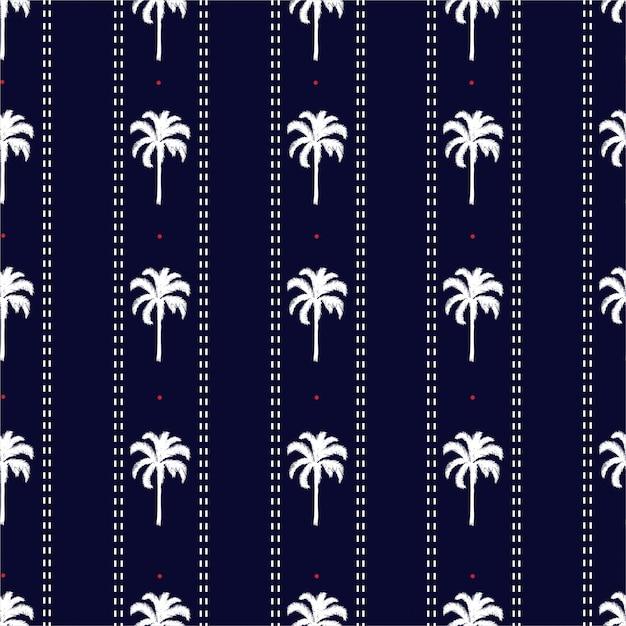 Palma a strisce con linea tratteggiata e piccole vibrazioni estive senza cuciture a pois rossi, design per moda, tessuto, carta da parati e tutte le stampe Vettore Premium