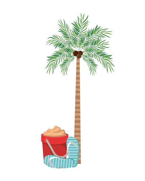 Palma con cocco in bianco Vettore gratuito