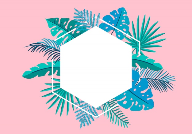 Palma tropicale delle foglie della struttura floreale di estate con il posto per testo. Vettore Premium