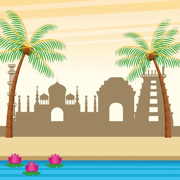 Palme e fiume indiani delle costruzioni Vettore gratuito